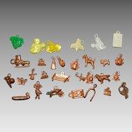 Vintage Plastic Gumball, Cereal Premium, Disney, Looney Toons Charms Circa 1950