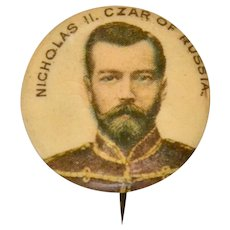 Whitehead and Hoag Advertising Pinback Celluloid Button Nicholas II Czar of Russia