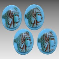 Art Deco Glass Egyptian Revival Czech Jewelry Medallions Circa 1920, Blue