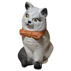 Vintage Chalkware Plaster Cat with Bow, Hand-Painted, Circa 1930