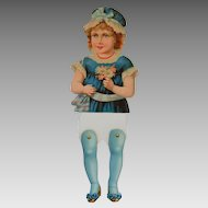 Antique Jointed Victorian Paper Doll, Circa 1890