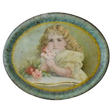 Large Antique Victorian Tin Lithograph Large Tray, Girl with Roses, Circa 1890