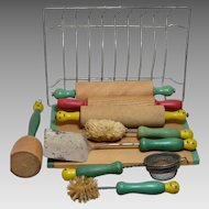 Toy Wooden Kitchen Utensils, Green Handle With Yellow faces, Circa 1920