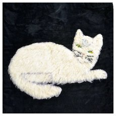 Folk Art Cat Pillowcase with Glass Eyes Circa 1920, Hooked Rug