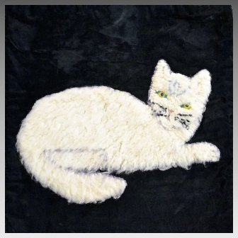 Folk Art Cat Pillowcase with Glass Eyes Circa 1920, Hooked Rug