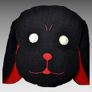 Vintage Dog Pillow in Black Corduroy, Embroidered Face Circa 1920