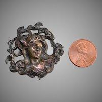 Silver Metal Art Nouveau Large Button Circa 1900
