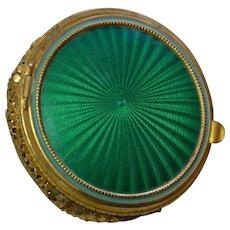 Rex Gold Mesh Green Guilloche Enamel Compact