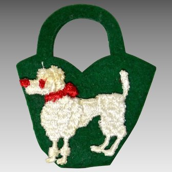 Vogue Jill Doll Embroidered Poodle Tote Bag, Green, 1958