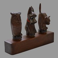 Vintage Anri Wooden Bar Set, Animals with Glass Eyes