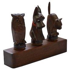 Vintage Anri Wooden Bar Set, Animals with Glass Eyes