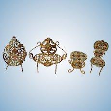 Miniature Enamel Gold Gilt Metal Dollhouse Furniture, Four Pieces Circa 1900