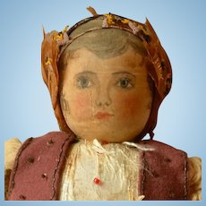 Hand Painted Wooden Head Doll in Ethnic Costume Circa 1900