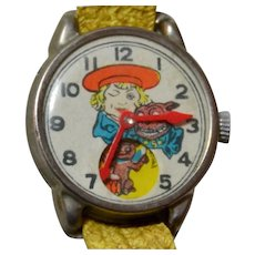 Vintage Buster Brown Advertising Character Toy Wristwatch