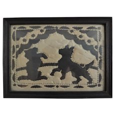 Framed Folk Art Textile of Scottie Dog, Reverse Applique, Circa 1920