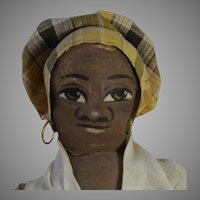 Maude Witherspoon Folk Art Black Cloth Doll with Oil Painted Face Circa 1900