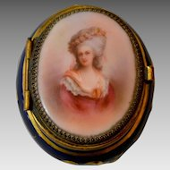 Antique Volkstedt Hand Painted Cobalt Blue Porcelain Trinket Box of Princesse de Lamballe