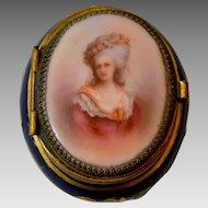 Antique Volkstedt Hand Painted Cobalt Blue Porcelain Trinket Box of Princesse de Lamballe