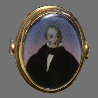 Antique Miniature Portrait Ring of Gentleman, 14 K Gold
