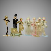 Art Deco Celluloid and Pipe Cleaner Wedding Party Circa 1920