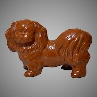 Large Antique Pekingese Dog Pottery Bank