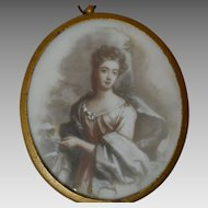 Antique Miniature Painting of Lady on Milk Glass
