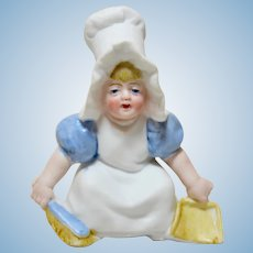 Antique All Bisque Sun Bonnet Girl with Dustpan