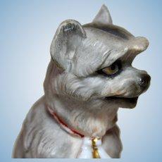 Victorian Terrier Dog, All Bisque, Circa 1880