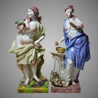 Antique Capodimonte Style Porcelain Figures, Ginori Factory, 19th Century