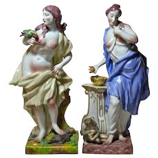 Antique Capodimonte Style Porcelain Figures, Ginori Factory, 19th Century