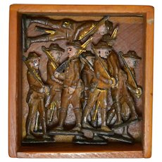 Lead Toy Soldiers in Wooden Box Circa 1920