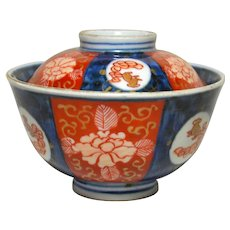 Signed Meiji Period Imari Rice Bowl with Lid
