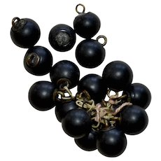Victorian Black Glass Buttons on String