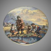 Antique Prattware Pot Lid Shrimpers Circa 1860