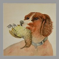 Folk Art  Retriever Dog Watercolor