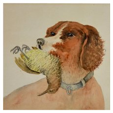 Folk Art  Retriever Dog Watercolor