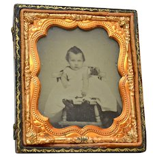 Antique Ambrotype Photo Toddler in Painted Chair