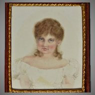 Antique Miniature Portrait of Young Girl on Card circa 1820