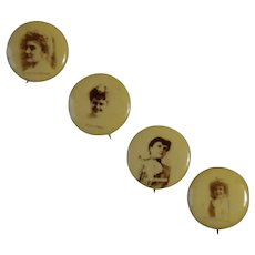 4 Sweet Caporal Cigarette Actress Pinback Buttons, Whitehead and Hoag, Circa 1890, Group #1