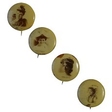 4 Sweet Caporal Cigarettes Actress Pinback Buttons, Whitehead and Hoag, Circa 1890, Group #2