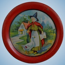 3 Mother Goose Tin Lithograph Toy Plates, Ohio Arts, 1931