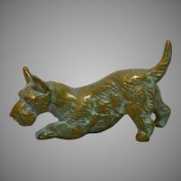 Cast Brass Miniature Scottish Terrier  Dog Circa 1930