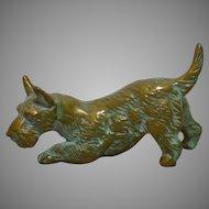 Cast Brass Miniature Scottish Terrier  Dog Circa 1930