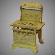 Cast Iron Toy Stove Marked Royal, Original Yellow Paint 1920