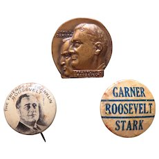 3 FDR Political Pinback Buttons 1932