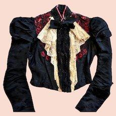 Antique Victorian Bodice Jacket, Boning, Lace, Beading Circa 1890