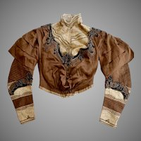 Antique Victorian Bodice Jacket Brown Satin with Boning, Lace, Braid and Velvet Circa 1890