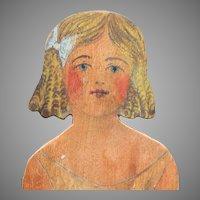 """11.5"""" Folk Art Paper Doll, Wooden, Hand Made Circa 1910"""