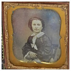 Daguerreotype Lady with Lace Collar in Intact Leather Case