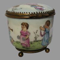 Kate Greenaway Style Antique French Porcelain Trinket Box